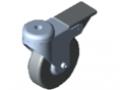 Ruota orientabile D80 doppio bloccaggio, inox