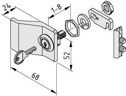 Verschlusssystem 8, Zylinderschloss mit Griff, rechtsschließend