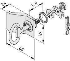 Sistema di chiusura 6, serratura a doppia barba con impugnatura, chiusura a sinistra