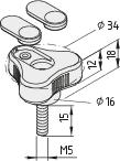 Dreisternschraube Pi D34 M5x15 PA, grau