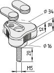 Dreisternschraube Pi D34 M5x20 PA, grau