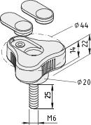 Dreisternschraube Pi D44 M6x25 PA, schwarz