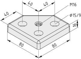 Transport- und Fußplatte 8 80x80-45°, M16, schwarz