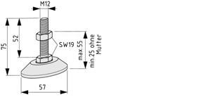 Stellfuß D60, M12x75, rostfrei