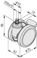 Lenkrolle D75 PA Doppelfeststeller