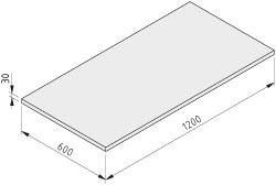 Tischplatte 30-1200x600 ESD HPL-beschichtet, grau ähnlich RAL 7035