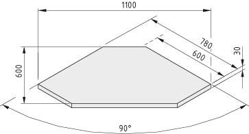 Tischplatte TRIGO 30-600 HPL, grau ähnlich RAL 7035