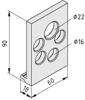Montagewinkel für Welle D6/D14/D25, schwarz