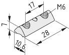 Nutenstein 6 St 2xM6-28, verzinkt