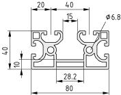 Profilé X 8 80x40 2N K15 - XMS, naturel