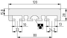 Schlittenprofil LRF 8 D10 120x28, natur