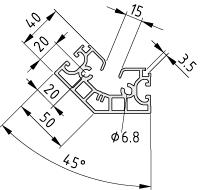 Profil X 8 40-45° K15 – XMS, natur