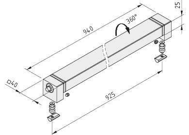 Maschinenleuchte LED 30W 40x40x940