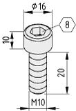 Zylinderschraube DIN 912 M10x20, verzinkt