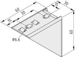 Winkel 6 60x60 Zn, weißaluminium ähnlich RAL 9006