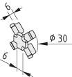 Verdrehsicherung 6 D30-45°, grau ähnlich RAL 7042