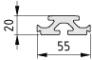 Plattenverbindungsprofil 8 55x20, natur